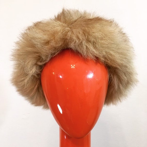 Vintage 60s Pale Brown Faux Fur Hat - image 5