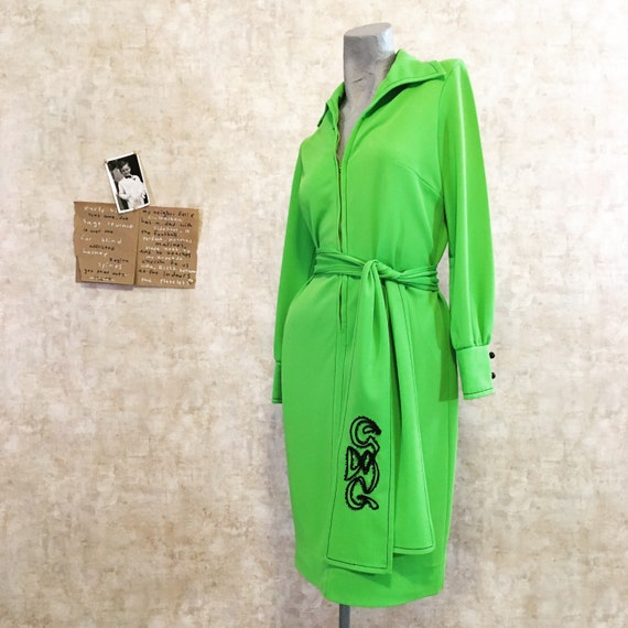 Vintage 70s Hot Lime Green Wiggle Dress   small me