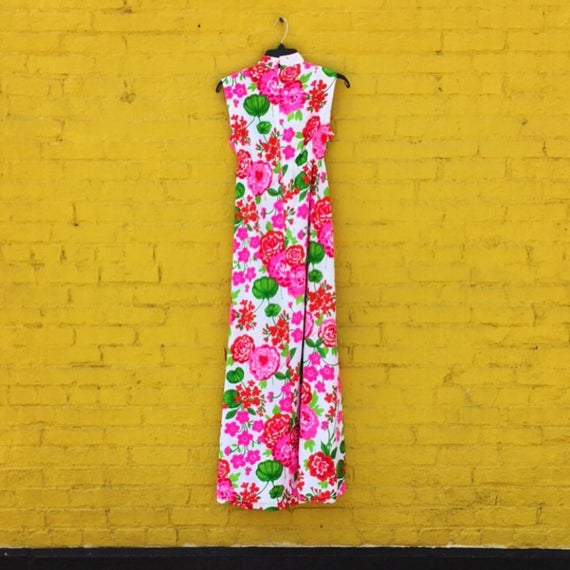 Vintage 60s Pink Red and Green White Flower Maxi … - image 5