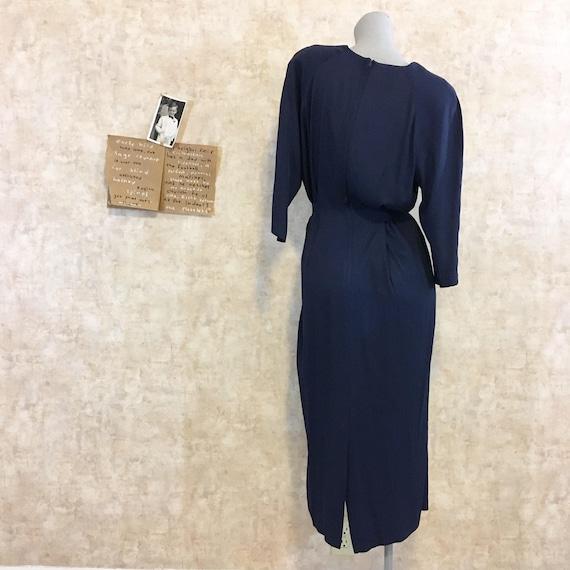 Vintage 80s does 40s Navy Crepe Dress  large extr… - image 5
