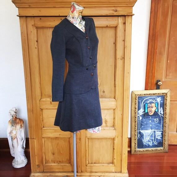 60s Vintage Cadet Blue Mod Mini Skirt Suit   Mediu