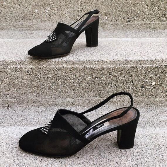 Vintage 40s French Paris Black Suede Leather Mesh… - image 7