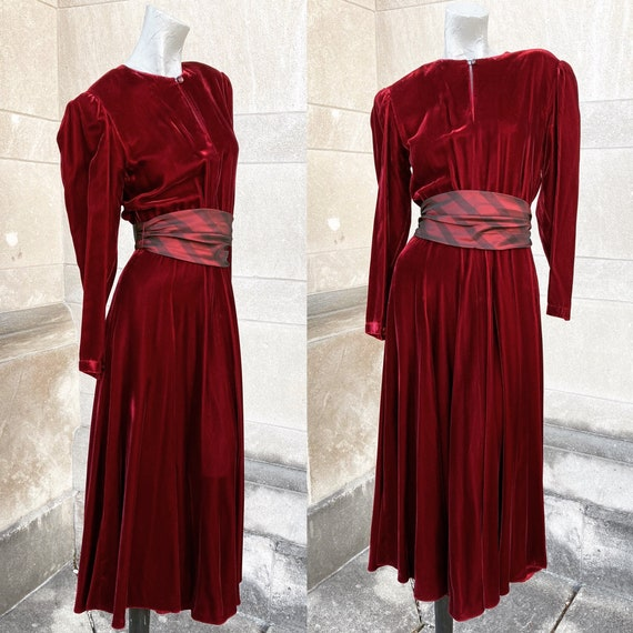 Vintage 80s does 30s 40s Red Velvet Dress with Cum