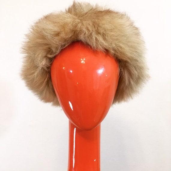 Vintage 60s Pale Brown Faux Fur Hat - image 2