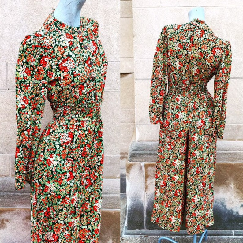 Vintage 70s Green Orange and White Palazzo Pants and Shirt Blouse Set  small medium