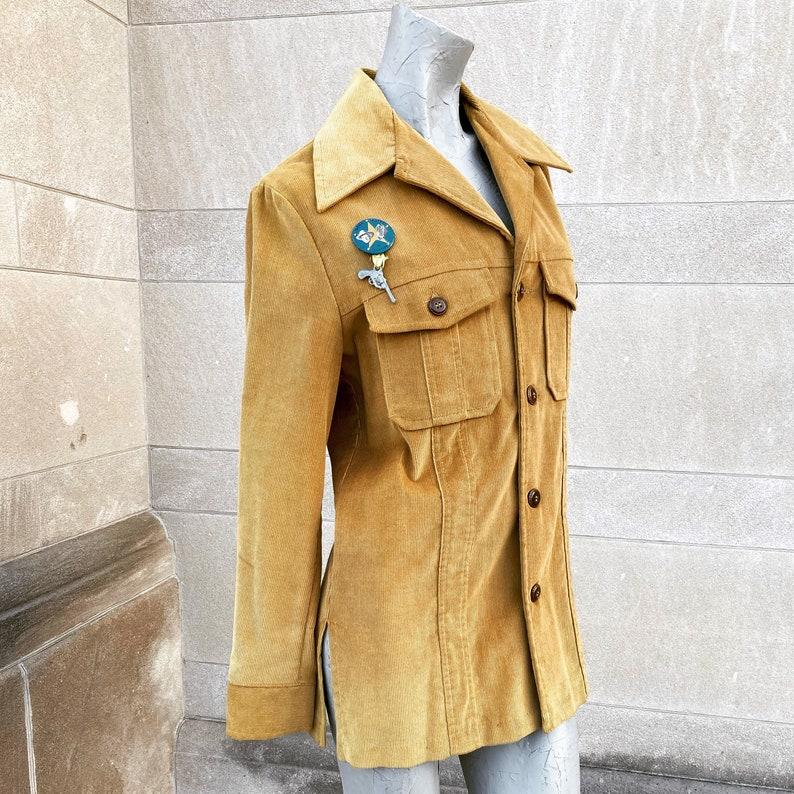 Vintage 60s 70s Golden Brown Corduroy Jacket with Cowboy Sheriff Pin Badge with Toy Gun  medium large