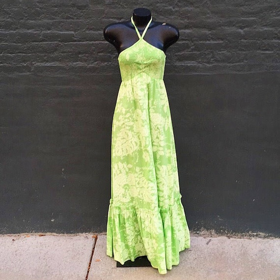 Vintage 70s Lime Celery Green Polished Cotton Maxi