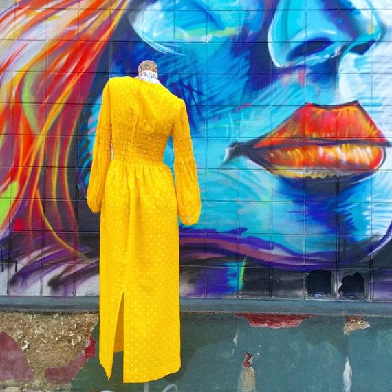 70s Bright Lemon Yellow Polka Dot Maxi Dress smal… - image 5