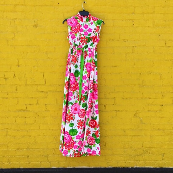 Vintage 60s Pink Red and Green White Flower Maxi … - image 2