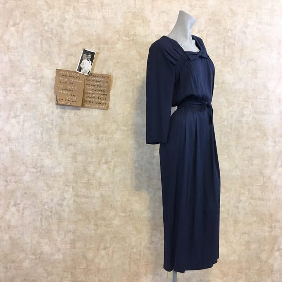 Vintage 80s does 40s Navy Crepe Dress  large extra