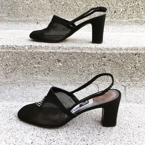 Vintage 40s French Paris Black Suede Leather Mesh… - image 3