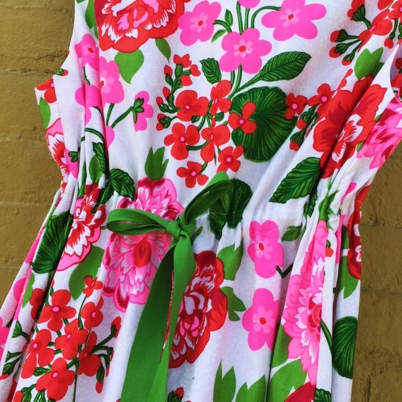 Vintage 60s Pink Red and Green White Flower Maxi … - image 4