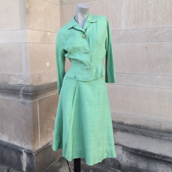 Vintage 50s Sea Green Silk Hand Tailored Circle Sk