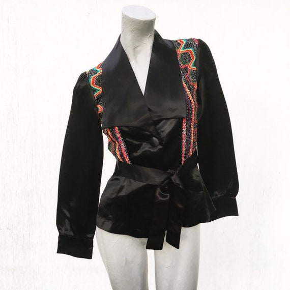 Vintage 70s Black Satin Disco Jacket with Mod Embr
