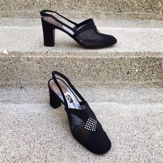 Vintage 40s French Paris Black Suede Leather Mesh… - image 1