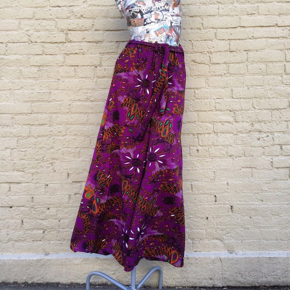 70s Palazzo Pants Vintage Purple Mod small medium - image 1