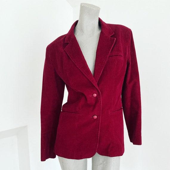 Vintage 70s Burgundy Maroon Red Corduroy Jacket  m