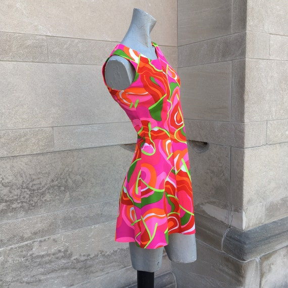 Vintage 60s Mod Mini Hot Pink Green Orange Dress s