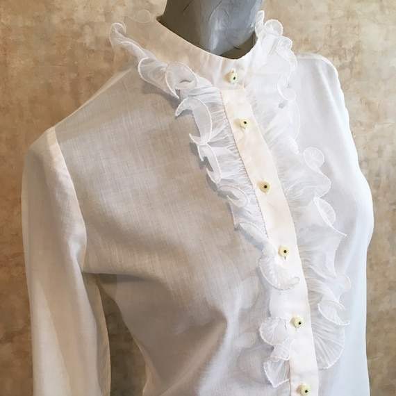 Vintage 50s White Cotton Blouse with Organza Ruffl