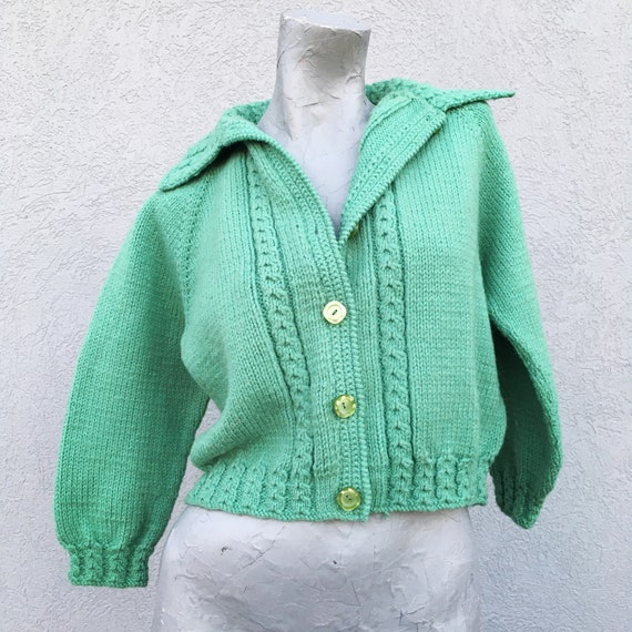 Vintage Charming 40s 50s Hand Knit Mint Green Wool