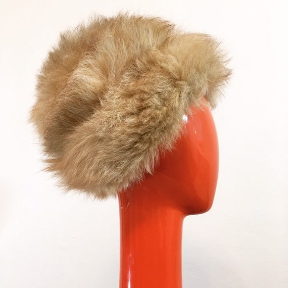 Vintage 60s Pale Brown Faux Fur Hat