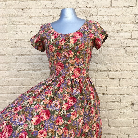 Vintage 80s Cotton Floral Dress small