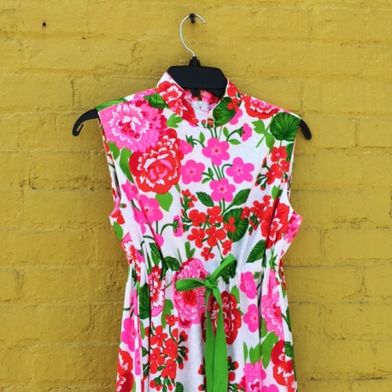 Vintage 60s Pink Red and Green White Flower Maxi … - image 3