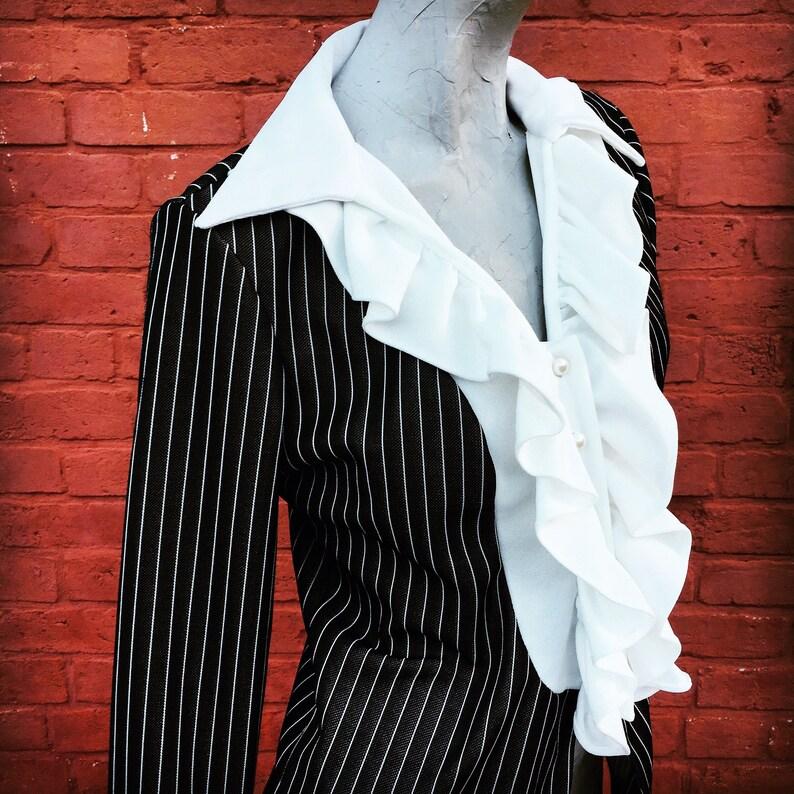Vintage 70s Black and White Jacket with Ruffles Ruffled Sleeves  medium large