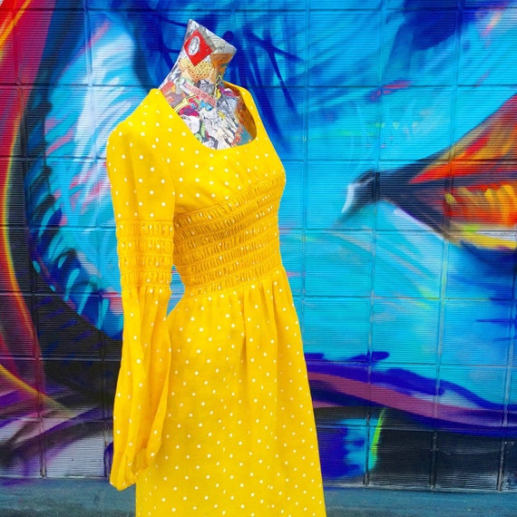 70s Bright Lemon Yellow Polka Dot Maxi Dress small