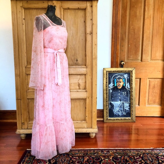 70s Vintage Salmon Pink Sheer Maxi Dress with Slip