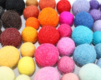 100 felt balls, Multicolor and Multi size Mix 15mm & 20mm