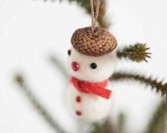 Felt ball acorn snowman Christmas tree ornament set of 5
