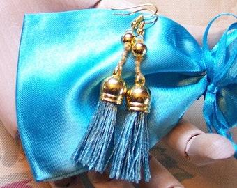 Breakfast at Tiffany's Style Teal Blue & Gold Tassels Dangling French Hook Pierced Earrings