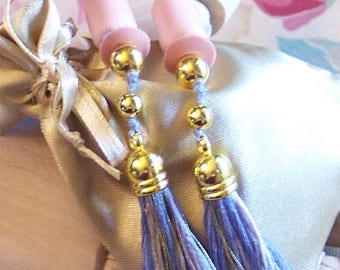 Breakfast at Tiffany's Holly Golightly Style Light Purple Blue & Gold Tassels Sound Reduction Ear Plugs Set