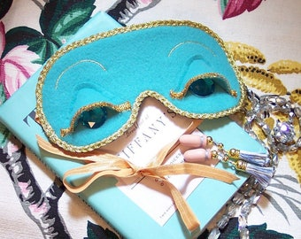 Breakfast at Tiffany's Holly Golightly Audrey Style Teal Gold Sleep Mask & Optional Tassel Ear Plugs or Earrings Set