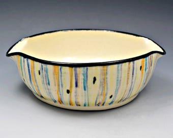 Multi-colored Striped Small Stoneware Casserole or Brie Baker, Wheel Thrown, Underglaze Decorated