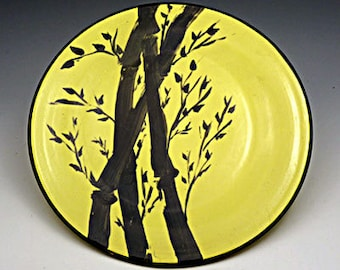 Decorative Yellow Hand-painted  Pottery Bamboo Design Plate - Serving - Centerpiece - Wall Hanging