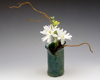 Textured Teal Bud Vase, shipping included