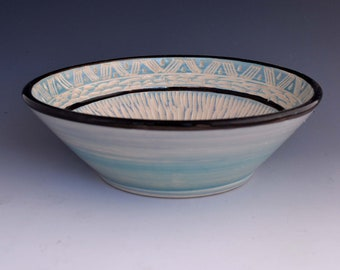 Aqua Ceramic Carved Bowl - Art Ceramic Serving Bowl - Wheel Thrown Bowl - Ceramic Sgraffito Design Bowl -