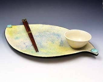 Yellow, Blue, Turquoise Sushi or Canape Dish with Sauce Bowl and Chopsticks