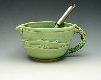 Ceramic Mint Green Large Batter Bowl- 6 cup  Mixing Cup with Wire Whip and Handle-Pottery Batter Bowl- Wheel Thrown Stoneware