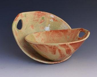 2 Ceramic Snacking Bowls -  Dessert Bowls -  Cereal Bowls - Dip Bowl
