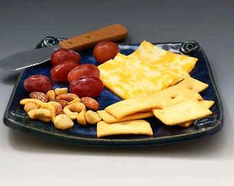 Blue Ceramic  Cheese or Relish Plate with Cheese Knife  - Snack Plate - Hors d'oeuvres