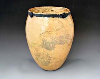 Decorative Raku Vessel - Taupe - Mantlepiece Decoration - End Table Art - Vase for Silk Flowers