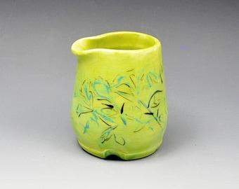 Ceramic Chartreuse Hand Painted Floral Impressionistic Design  Creamer or Gravy/syrup Jar