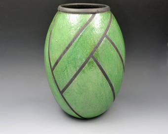 Large Green Raku Vessel with Black Architectural Linear Design, Decorative Art Piece, Hand Decorated Pottery, Dried or Silk Flowers only