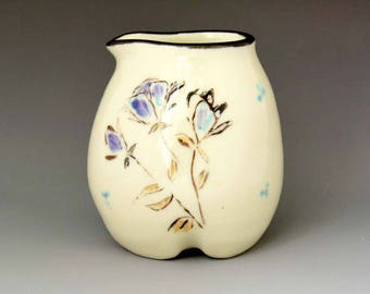 Hand-Painted Porcelain Creamer - Floral Impressionistic Design -Gravy-Syrup Jar-Wheel Thrown Ceramic Pottery