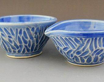 Blue Ceramic Prep Bowls-Ring Holder-Trinket Dish-Small Carved Ceramic Bowls