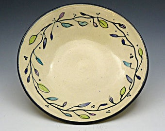 Ceramic Serving Bowl  Hand Painted Colored Leaves - Wheel Thrown - Stoneware - Hand Painted