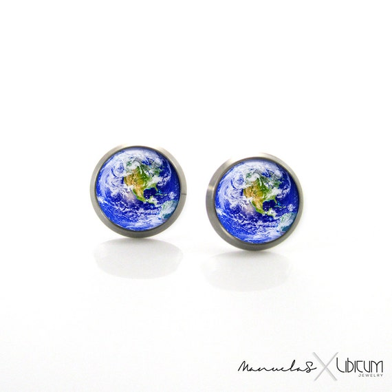 Planet Earth earrings post earr... stud earrings brass earrings map earrings